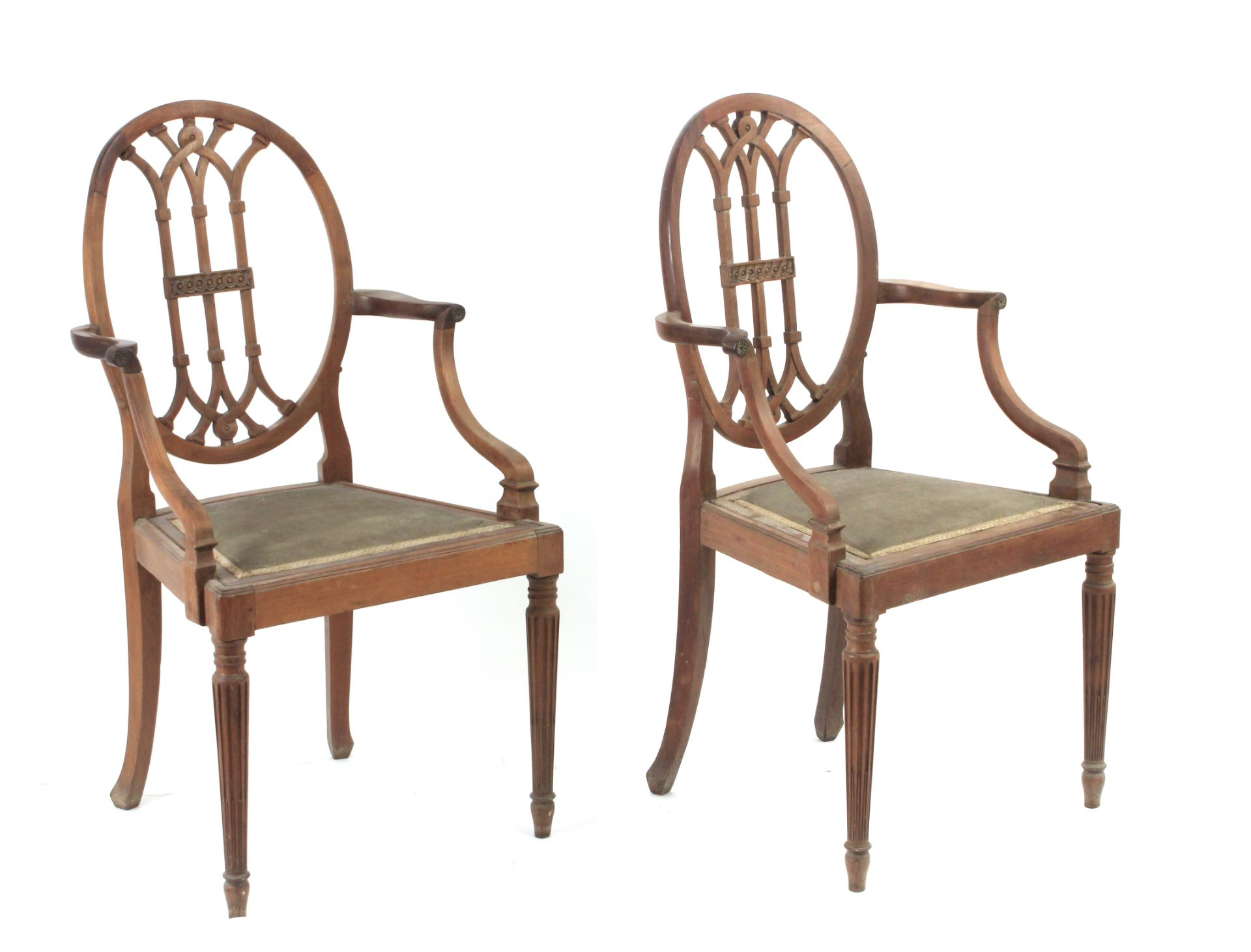 A pair of 19th century mahogany ship chairs