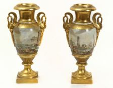 A pair of 19th century French vases in Old Paris porcelain