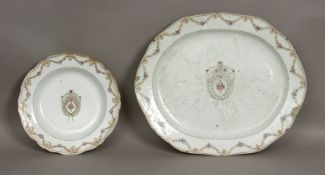 An 18th century Chinese dish and serving tray in Chinese export porcelain