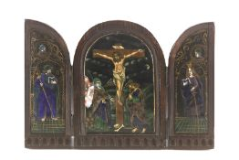 A 19th century Neo-Gothic triptych with Limoges enamels