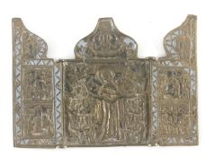 A 19th century Russian carriage bronze triptych icon