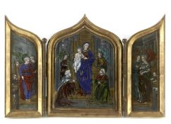 A 19th century triptych with Limoges enamels