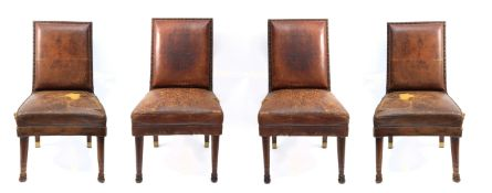 A set of four Empire style walnut chairs circa 1900