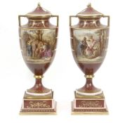 A pair of decorative vases circa 1890 in Royal Vienna porcelain