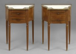 A pair of Louis XVI style walnut side tables circa 1900