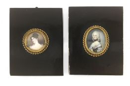 A pair of French miniature portraits of dames circa 1900