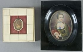 A pair of 19th century French portrait miniatures of dames