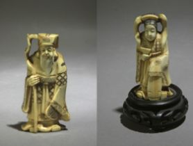 A pair of Chinese ivory sculptures circa 1900