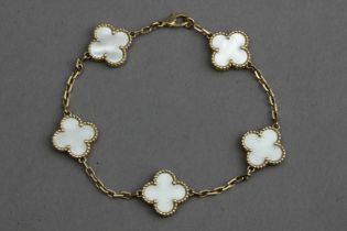 Van Cleef & Arpels. Alhambra bracelet.Mother of pearl and 18 k. yellow gold