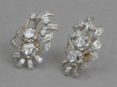 A pair of diamond earrings circa 1950