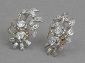 A pair of diamond earrings circa 1950