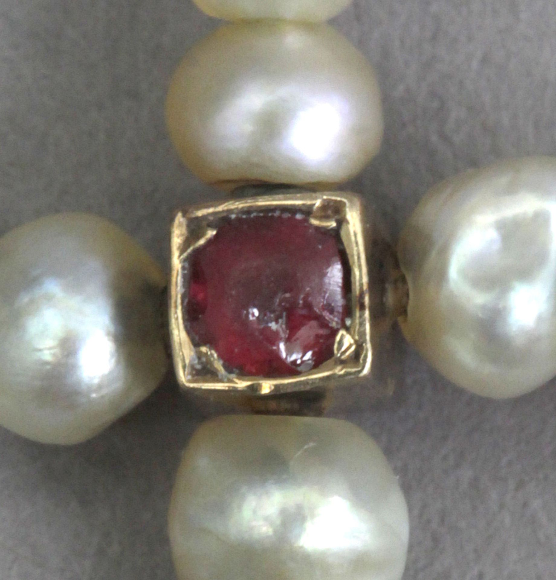 A 19th century freshwater pearls, diamonds, and rubies pendant cross - Image 2 of 3