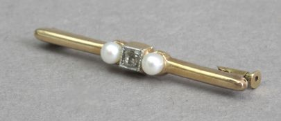 A first third of 20th century tie pin with diamonds and freshwater pearls