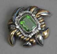 A first half of 20th century tourmaline and diamond brooch