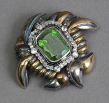 A first half of 20th century tourmaline and diamond brooch