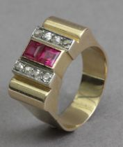 A chevalier ring circa 1940 in gold, platinum, diamonds and rubies