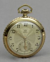 Omega. An 18k. yellow gold open face pocket watch