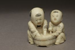 A Japanese netsuke from Meiji period circa 1850-1880. Signed Homin