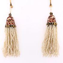 Enamel & Seed Pearl Earrings