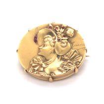 Art Nouveau Gold & Ruby Brooch
