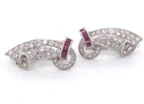 Diamond & Ruby Clip Earrings