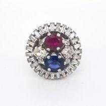 Sapphire, Ruby & Diamond Ring