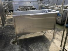 Stainless Steel Tank, with roller conveyor inside, one outlet, plastic rollers , serial no. N/A,