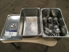 Two Stainless Steel Trays, with 20 stainless steel scoops, serial no. N/A, plant no. N/A, year of
