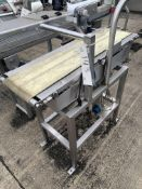 Three Conveyors, one pin belt, 240mm wide x 1.05m long,one roller conveyor, 300mm wide x 0.95m long,