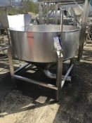 Stainless Steel Round Holding Tank, with bottom discharge, on stainless frame , serial no. N/A,