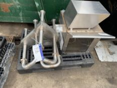 Plastic Pallet, containing three stainless steel trough wall pipes, one stainless steel cabinet