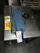 Hulme Martin Foot Operated Bag Sealer, on stainless steel table , serial no. N/A, plant no. N/A,