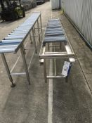 Two Roller Conveyors, with plastic rollers, stainless steel frame, roller width 400mm & 450mm,
