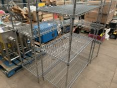 Three Bay Three/Two Tier Metal Racking, two x three shelves and one x two shelves, uprights approx.