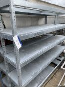 Two Bay Four Tier Galvanised Steel Shelf Racks, approx. 2.45m long x 0.47w x 2m high, lift out
