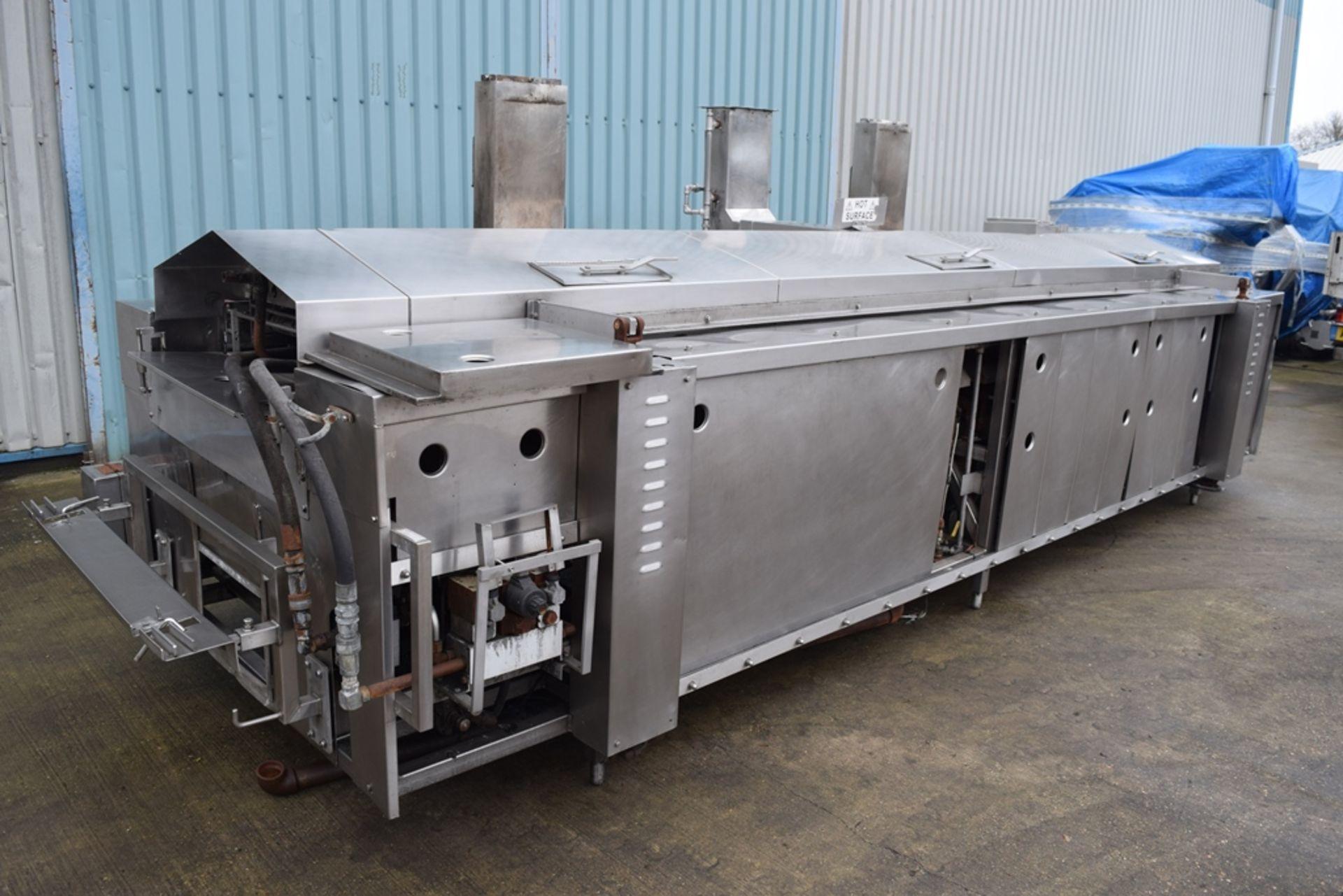 JBT Stein Natural Gas Fryer, with hydraulic canopy Hoist, frying length approx. 4000mm, frying width