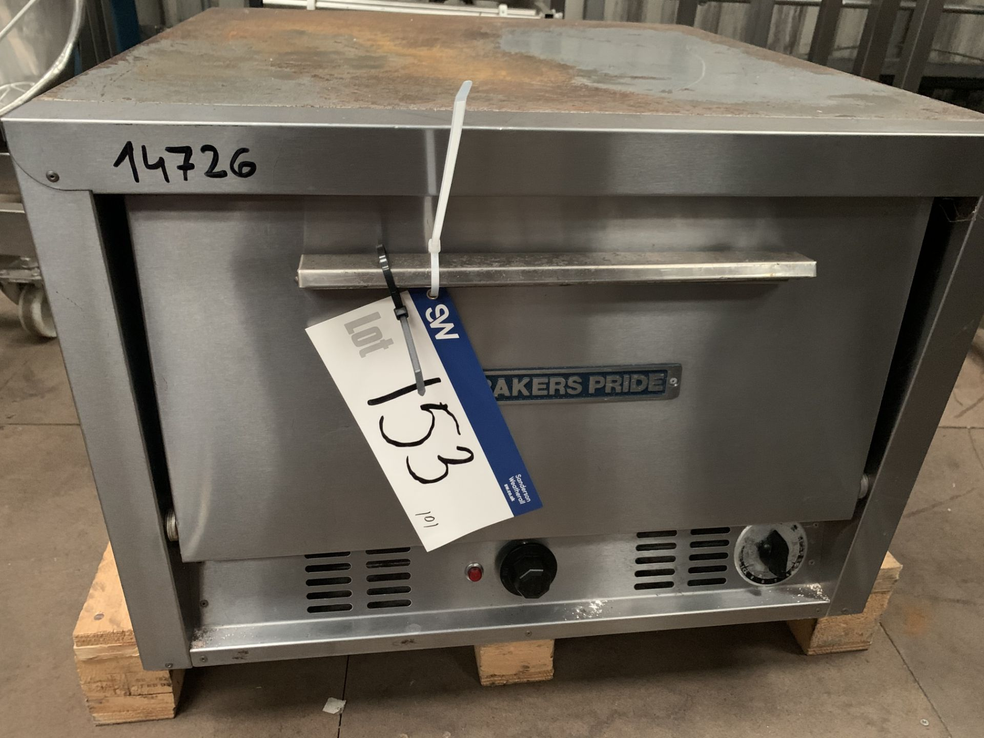 P22 Bakers Pride Two Shelf Stone Oven, serial no. 2535, plant no. 14726, year of manufacture N/A,