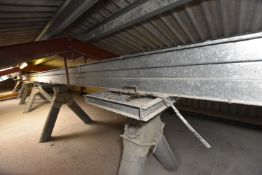 GALVANISED STEEL CASED CHAIN CONVEYOR, (over storage bins), approx. 23m centres long, approx.