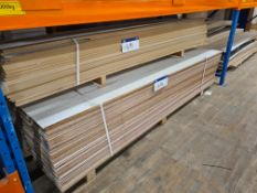 Quantity of White Faced MDF, approx. 2440mm x 240mm x 10mm thickness, as set out on pallet