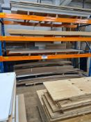 Quantity of Assorted Sheet Materials, including MDF and ply, as set out on one bay of rack