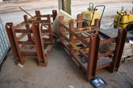 Two x Two Bay x Three Tier Steel Racks, each approx. 1.67m x 740mm x 1030mm highPlease read the