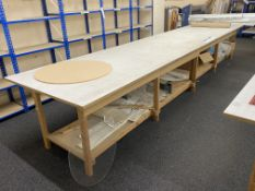 Two Wooden Laying Out Tables