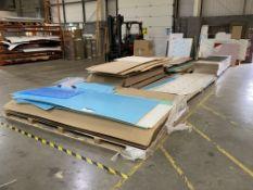 Various Sheet Material, as lotted inc glass, acrylic, veneered mdf, hardboard, Forex etc