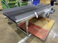 Transnorm 600mm wide Inclined Flat Belt Conveyor, approx. 2.4m long, serial no. B1540162, year of