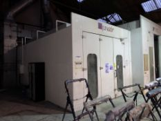 JunAir Gas Spray Booth Oven, tested to 07/08/2021, external dimensions approx. 9.2m x 4.1m x 3.4m