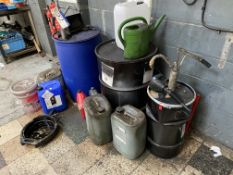 Assorted Oils & Lubricants, as set out in drums and containers, in one area