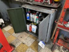 Double Door Steel Cabinet, with contents including oils, fluids, grease and lubricants