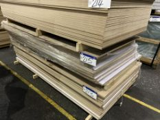 Approx. 19 Sheets of White Matt One Faced MDF, each sheet approx. 2400mm x 1200mm x 18mm, as set out