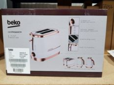 13 Boxed unused Beko Cosmopolis 2 Slice Toasters in white and rose gold, manufacturers model