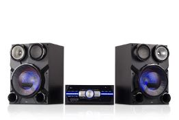 12 Boxed unused Tibo TI-370 Bluetooth Hi-Fi Systems with CD player, AUX, MP3/WAV, DJ effects, LED